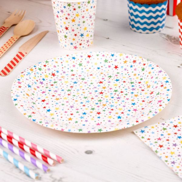 Carnival Multi Coloured Paper Plates - Stars (8)